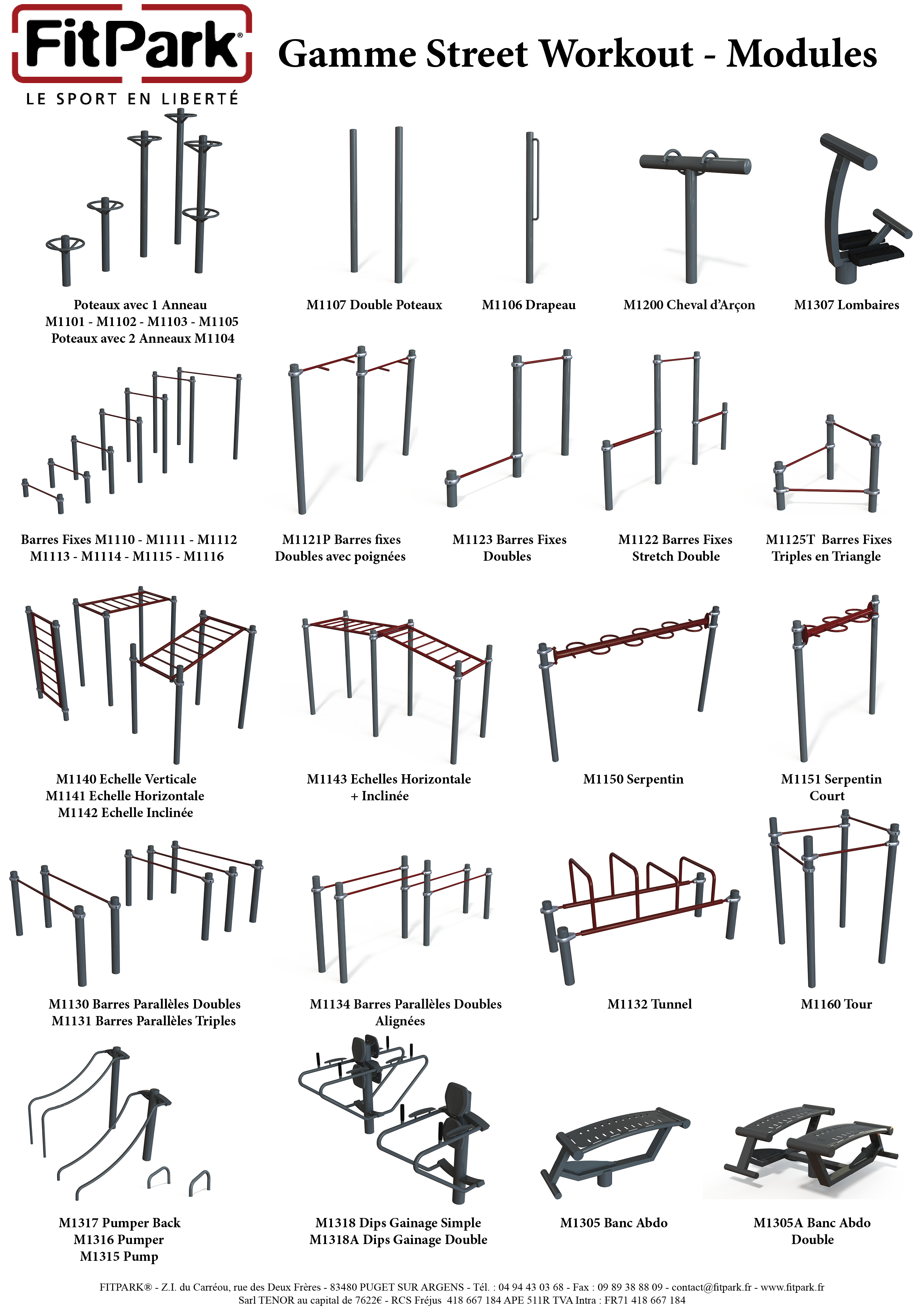Fitpark gamme Street Workout - les Modules